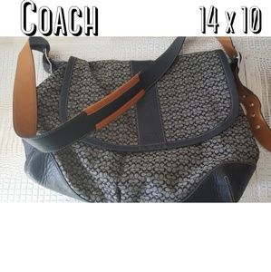 Large coach crossbody leather signature bag